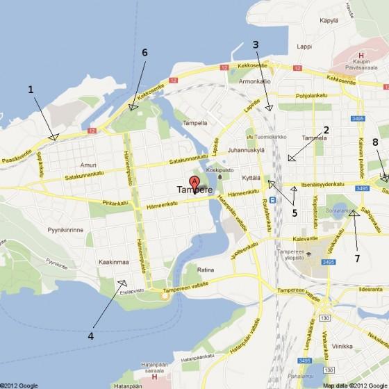 Tampere nähtävyydet kartalla